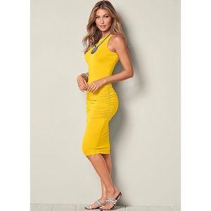 Venus Basic Tank Yellow Ruched Dress Size Medium